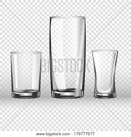 Glass or drinking glassware 3D realistic vector isolated icons on transparent background. Isolated set of empty goblet cup, wineglass, tumbler or bumper