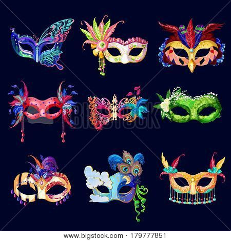 Colorful ornate carnival masks set with laces flowers feathers and jewels on dark background isolated vector illustration