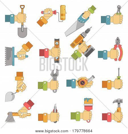 Hands holding work tools of carpentry, fix or home repair instruments. Vector flat icons of hammer, screwdriver and spanner, paint brush, trowel and saw or drill