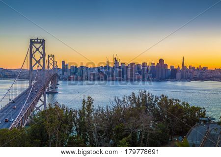 San Francisco Skyline With Oakland Bay Bridge In Twilight, California, Usa