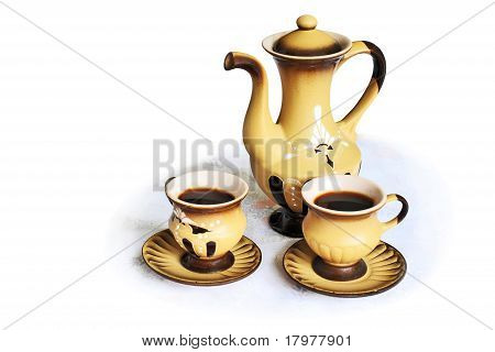 Coffee Pot  And Two Coffee Cups in Oriental  style