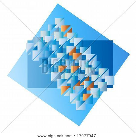 Triangle blue color abstract background. Vector illustration. Geometric mosaic decorative cover template. Trianguler digital decor backdrop.