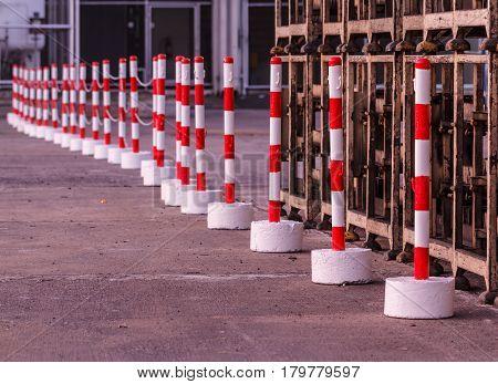 The Red white pylons Alerts traffic warning.