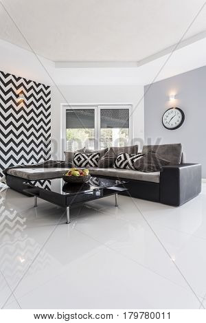Modern Room With High-polished White Tiled Floor