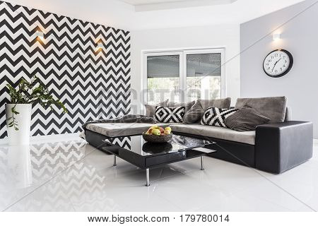 Posh Living Room With White Tiled Floor