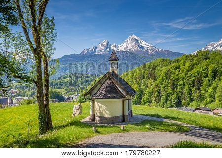 Lockstein Chapel With Watzmann Mountain In Berchtesgaden, Bavaria, Germany