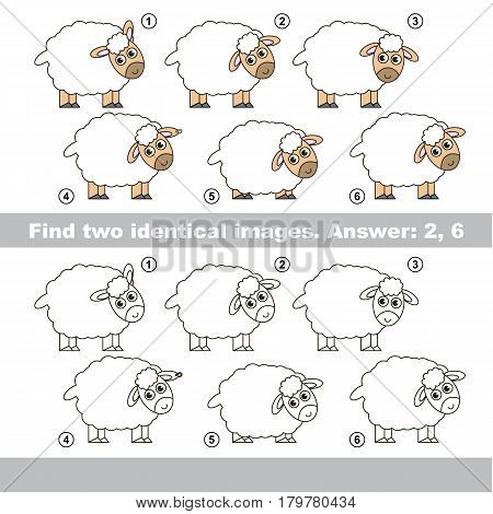 The educational kid matching game for preschool kids with easy gaming level, he task is to find similar objects, to compare items and find two same Sheeps.
