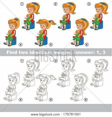 The educational kid matching game for preschool kids with easy gaming level, he task is to find similar objects, to compare items and find two same Girls with Dolls.