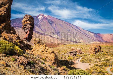 Pico Del Teide With Famous Roque Cinchado Rock Formation, Tenerife, Canary Islands, Spain