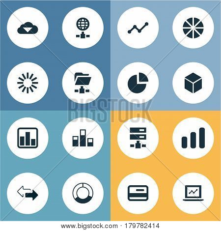 Vector Illustration Set Of Simple Data Icons. Elements Digital Documnet, Presentation, Cycle Chart And Other Synonyms Hosting, Pie And Document.