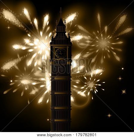 Big Ben vector contur. England or Londonbackground with fireworks