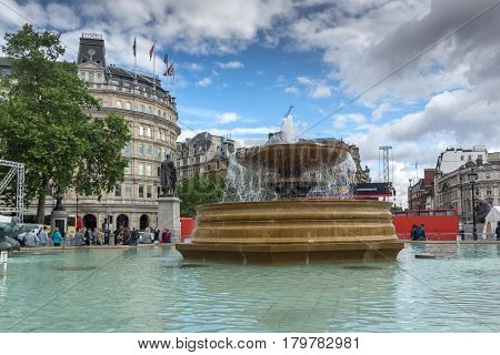 LONDON, ENGLAND - JUNE 16 2016: Trafalgar Square, City of London, England, Great Britain