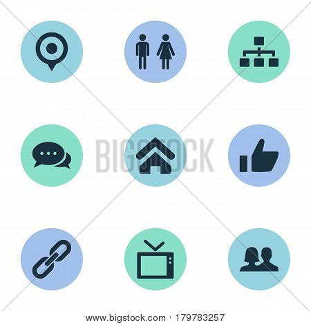 Vector Illustration Set Of Simple Network Icons. Elements Partnership, Link, Partner And Other Synonyms Home, Couple And House.