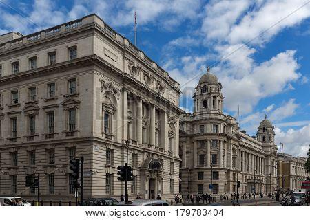 LONDON, ENGLAND - JUNE 16 2016: Whitehall Street,  City of London, England, Great Britain