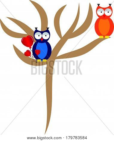 Falling love owl with tree on white background. Vector illustration.