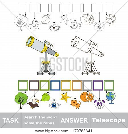 Educational puzzle game for kids. Find the hidden word Telescope