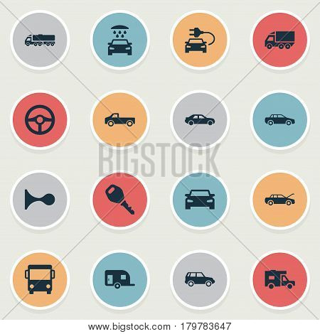 Vector Illustration Set Of Simple Transport Icons. Elements Driving, Klaxon, Caravan And Other Synonyms Shipment, Haulage And Car.