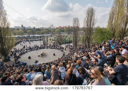People At Mauerpark In Berlin