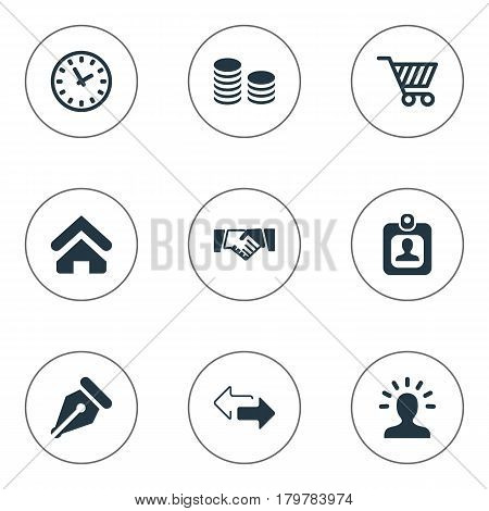 Vector Illustration Set Of Simple Trade Icons. Elements Trading Purse, Partnership, Hard Money And Other Synonyms Cart, Right And Identity.