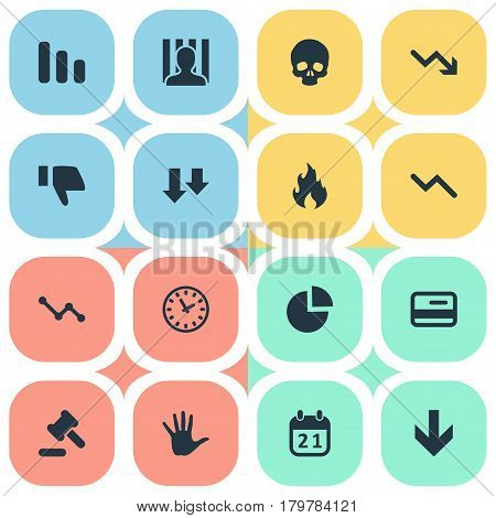 Vector Illustration Set Of Simple Impasse Icons. Elements Downward, Info Graph, Line Chart And Other Synonyms Business, Chart And Downward.