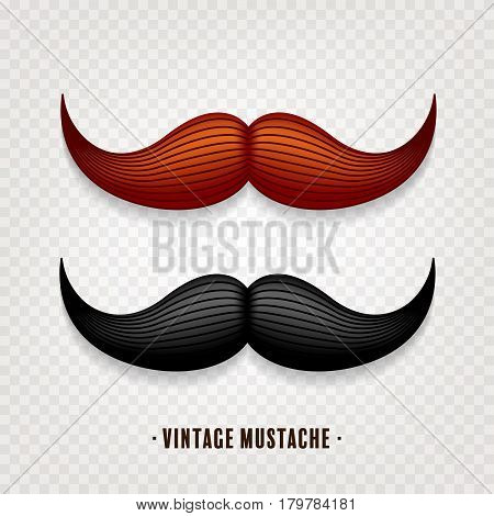 Mustache isolated on white. Black and brown vector vintage moustache. Facial hair.Barber shop. Retro collection. Hipster beard.