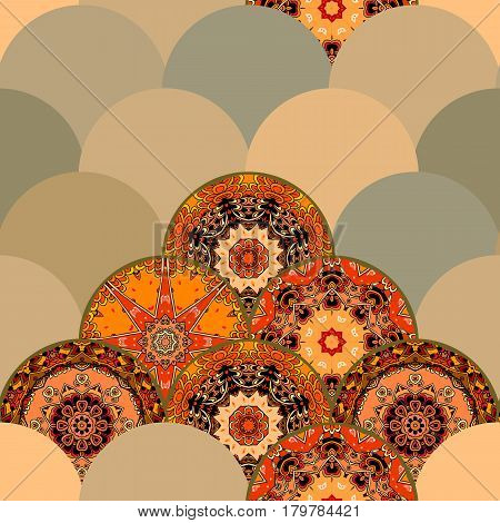 Fish-scales seamless pattern with different mandalas in ethnic style. Beautiful print for fabric. Vector illustration. Japanese, thai, chinese motives.