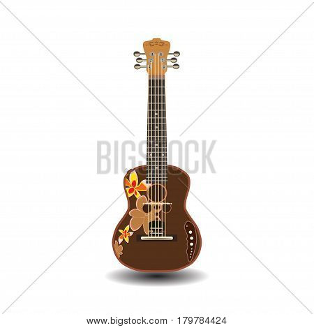 Vector illustration of electric ukulele isolated on white background. Hawaiian guitar string musical instrument in flat style.