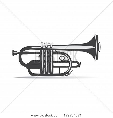 Black and white trumpet isolated on white background vector illustration. Wind brass musical instrument.