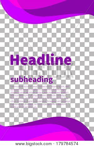 Vertical pink violet curves decorative elegant wavy design elements isolated. Waves for banner flyer cards booklet poster. Vector illustration.