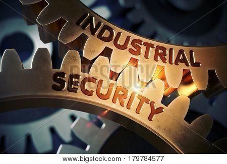 Industrial Security on Mechanism of Golden Cog Gears with Lens Flare. Industrial Security on the Mechanism of Golden Metallic Cog Gears with Glow Effect. 3D Rendering.
