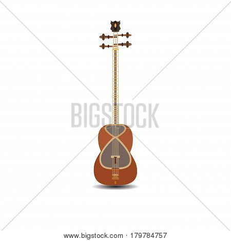 Vector illustration of tar isolated on white background. Azerbaijan string plucked musical instrument.