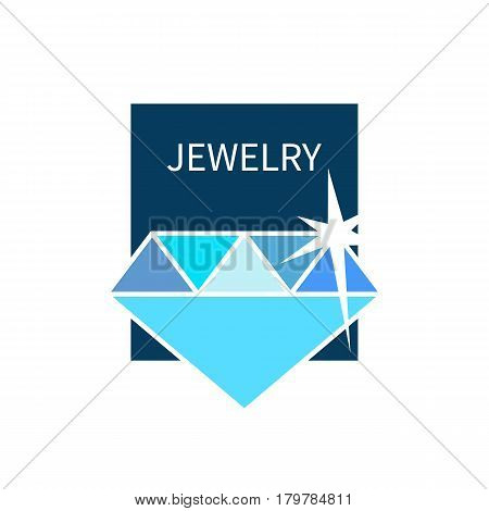 Card selling precious stones. Icon accessories store. Blue shining flat brilliant. Banner pawnshop. Vector illustration.