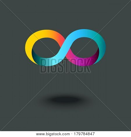 Infinity sign. Mobius strip. Gradient abstract modern colorful logo icon. Vector illustration.