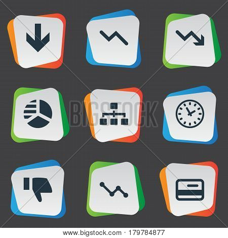 Vector Illustration Set Of Simple Impasse Icons. Elements Net, Graph Decreases, Finger Below And Other Synonyms Chart, Net And Graph.