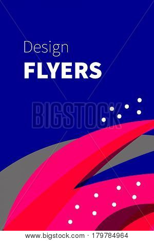 Positive bright pink and blue flyer banner invitation to party. Graphic design card. Abstract funny card. Vector illustration.