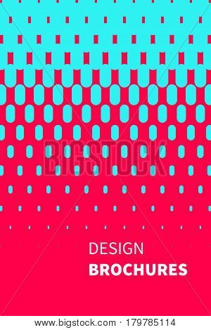Red and blue trendy cover of brochure with flowing lines. Template for flyer banner cards in modern coding style.
