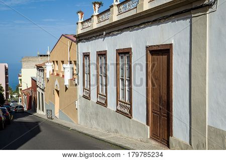 Old street with local's houses of Icod de los Vinos. Tenerife, Canary islands, Spain.