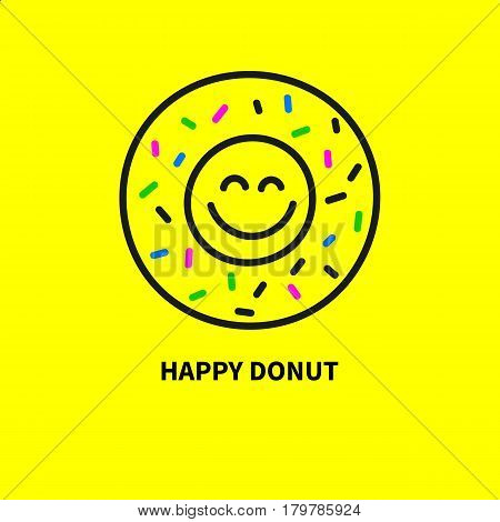 Logo happy smiling donut. Icon hypster cafes diner. Cute smiley emoticons emoticon. Greeting yellow card banner flyer. Vector illustration.