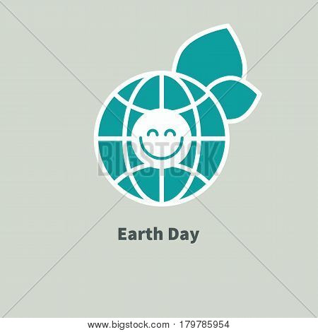 Logo Earth Day. Green globe with leaves and smiley isolated. Icon of nature conservation. Vector illustration.