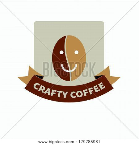 Hipster brown logo for trendy coffee shop with  natural quality crafted coffee. Smiling friendly coffee bean smiley and tape. Vector illustration.