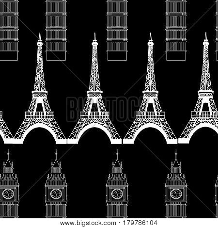 Big Ben and Eiffel Towers seamless pattern