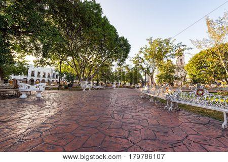 Main Plaza In Valladolid, Mexico