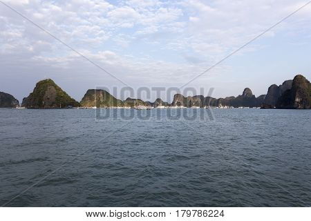 View Of The Halong Bay Full Of Boat Cruising
