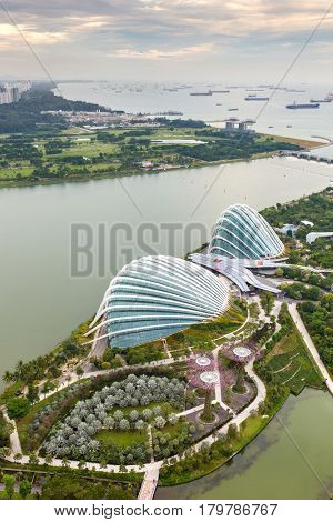 Singapore - June 26, 2016: Aerial view of Supertree Grove at Gardens by the Bay from the Marina Bay Sands Hotel  in Singapore