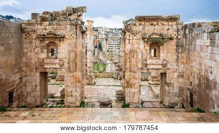 View Of Jerash Through Gates Of Artemis Temple