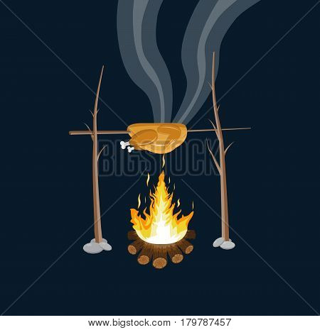 Bonfire with grilled chicken. Logs and fire. Camping, burning woodpile in night. Vector illustration in flat style