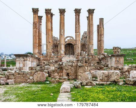 Front View Temple Of Artemis In Jerash In Winter