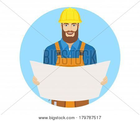 Worker holding the project plans. Portrait of worker in a flat style. Vector illustration.