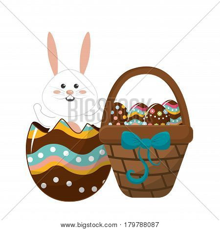 rabbit inside egg and hamper with eggs, vector illustration
