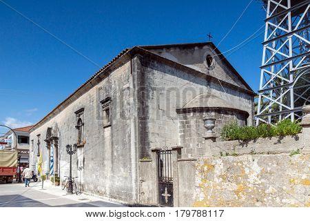 LEFKADA TOWN, GREECE JULY 17, 2014: Medieval church in Lefkada town, Ionian Islands, Greece